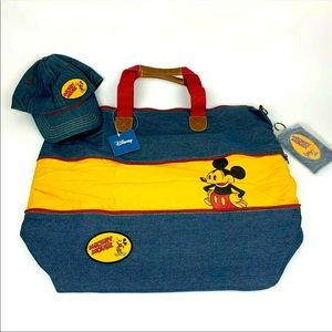 Disney Mickey Mouse Denim Bag And Hat Set NWT